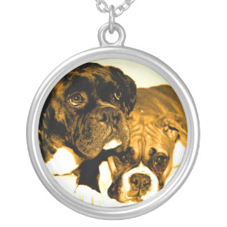Two boxer dogs necklace