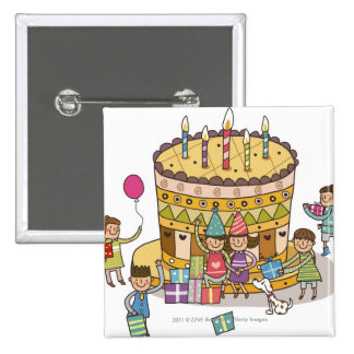 Two boys and three girls in a birthday party 15 cm square badge