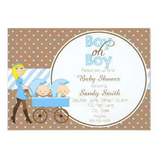 Two Boys in a Stroller Baby Shower Invitation