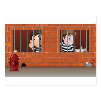 Two boys inside the jail postcard