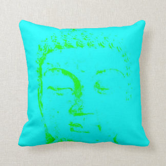 Two Branching Out buddha face turquoise and gold Cushion