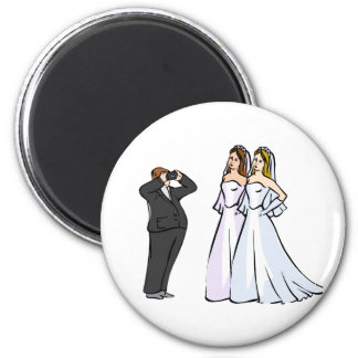 Two Brides being Photographed Refrigerator Magnet