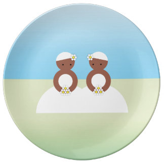 Two brides, both colored porcelain plates