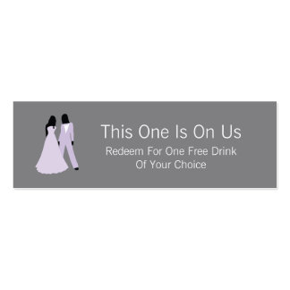 Two Brides Free Drink On Us (Lilac and Grey) Pack Of Skinny Business Cards