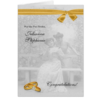 Two Brides Gay Wedding Congratulations Custom Card