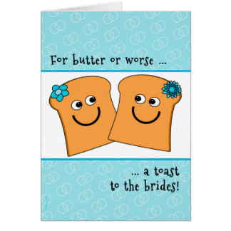 Two Brides Lesbian Wedding Congrats Funny Toast Card