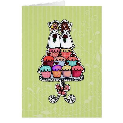 Two Brides on Cupcakes Greeting Cards
