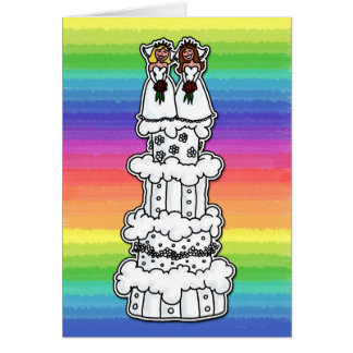 Two Brides on Wedding Cake Card