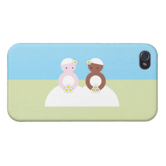Two brides one caucasian one colored iPhone 4/4S cases