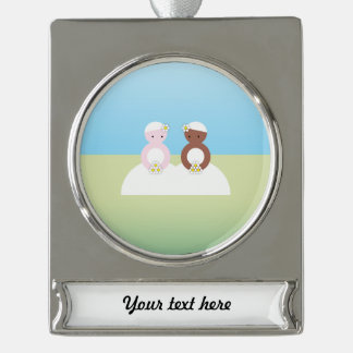 Two brides, one caucasian, one colored silver plated banner ornament