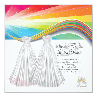 Two Brides Wedding 13 Cm X 13 Cm Square Invitation Card