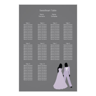 Two Brides Wedding (Lilac and Grey) Seating Plan Poster