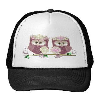 Two Brides Wedding Owls Art Gifts Cap