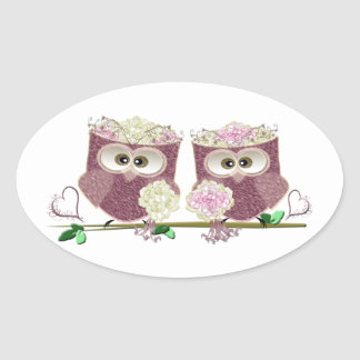 Two Brides Wedding Owls Art Gifts Oval Sticker