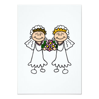 Two Brides with Flowers 13 Cm X 18 Cm Invitation Card