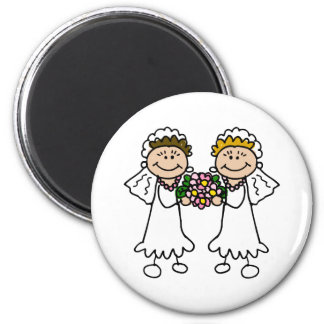 Two Brides with Flowers 6 Cm Round Magnet