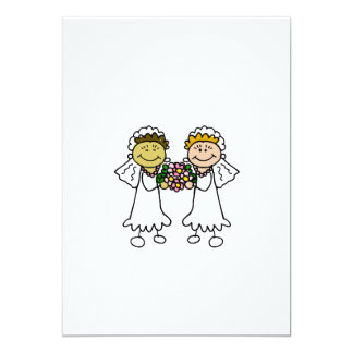 Two Brides with Flowers - Interracial Asian 5x7 Paper Invitation Card