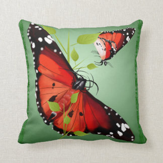 TWO BRIGHT ORANGE BUTTERFLIES CUSHION