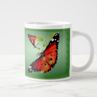 TWO BRIGHT ORANGE BUTTERFLIES LARGE COFFEE MUG