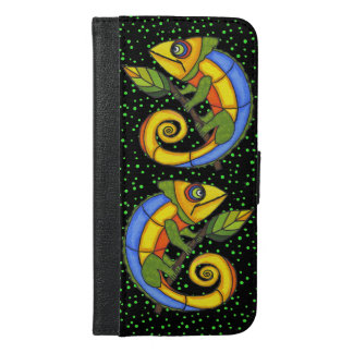 Two Brightly Colored Cute Lizards on Branches iPhone 6/6s Plus Wallet Case