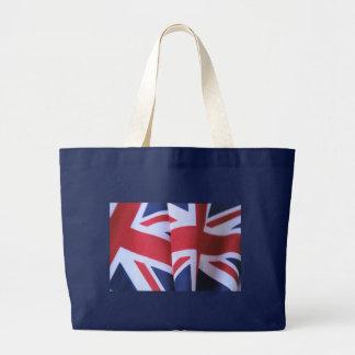 two British flags blue jumbo tote bag