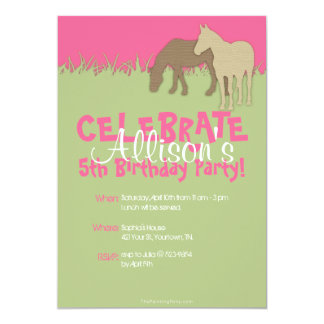 Two Brown Horses Girl's Birthday Party Invitation