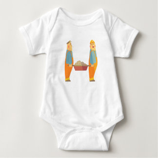 Two Builders With Barrow On Construction Site Baby Bodysuit