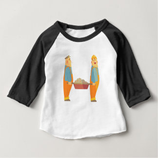 Two Builders With Barrow On Construction Site Baby T-Shirt
