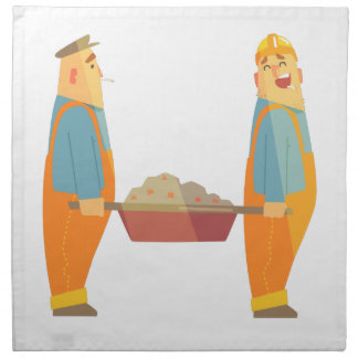 Two Builders With Barrow On Construction Site Napkin