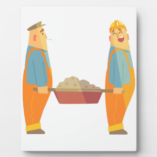 Two Builders With Barrow On Construction Site Plaque