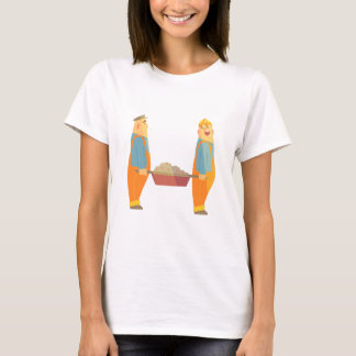 Two Builders With Barrow On Construction Site T-Shirt