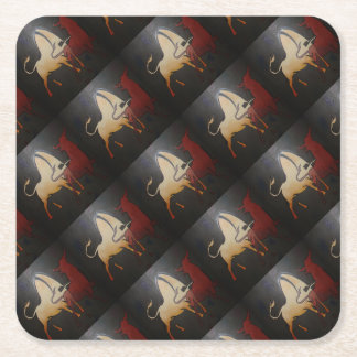 Two Bulls Fighting Square Paper Coaster
