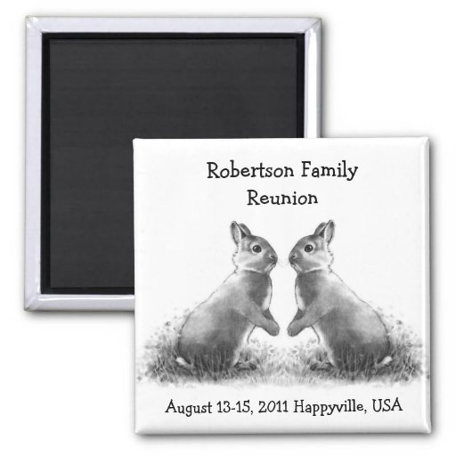 Two Bunnies Face to Face: Family Reunion Magnet