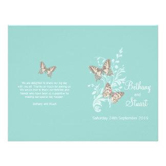 Two butterflies aqua teal graphic Wedding Program 21.5 Cm X 28 Cm Flyer