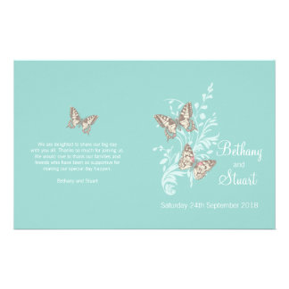 Two butterflies aqua teal graphic Wedding Program Flyer