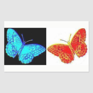 Two Butterflies | Blue Black | Red White Sticker