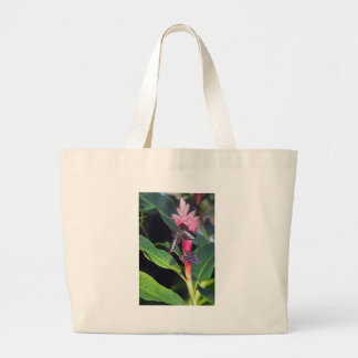 Two Butterflies on Pink Flower Canvas Bags