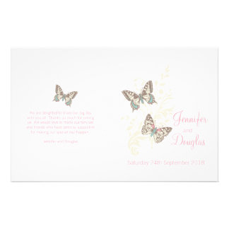 Two butterflies pink graphic Wedding Programme 14 Cm X 21.5 Cm Flyer