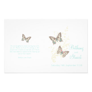 Two butterflies teal graphic Wedding Programme 14 Cm X 21.5 Cm Flyer