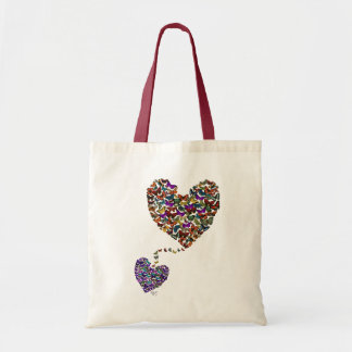 Two Butterfly Hearts Budget Tote Bag