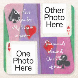 Two Cards in Love Anniversary Valentine Coasters