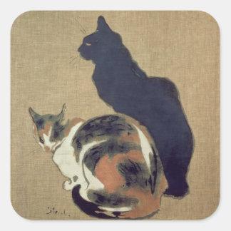 Two Cats, 1894 Square Sticker