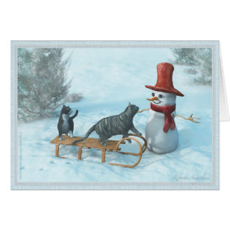 Two Cats and a Snowman Greeting Card