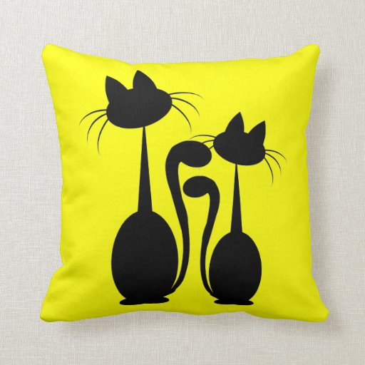 two cats and fishes Pillow