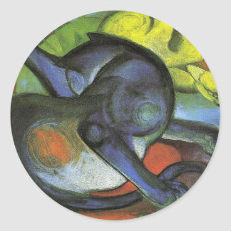 Two Cats, Blue and Yellow by Franz Marc Round Sticker