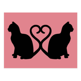 Two Cats Heart Silhouette Postcard