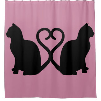 Two Cats Heart Silhouette Shower Curtain