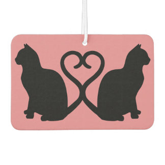 Two Cats Heart Tails Silhouette Car Air Freshener