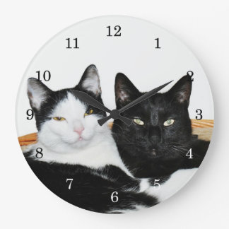 Two Cats in Love Large Clock