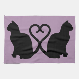 Two Cats in Love Silhouette Kitchen Towel